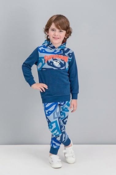 Superman  Lisanslı Mavi Erkek Çocuk Kapüşonlu Eşofman Takımı Lacivert